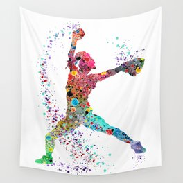 Baseball Softball Pitcher Watercolor Print Art Print Girl's Softball Painting Wall Tapestry