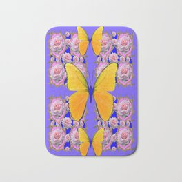 YELLOW BUTTERFLIES PINK ROSES ON LILAC COLOR ART Bath Mat