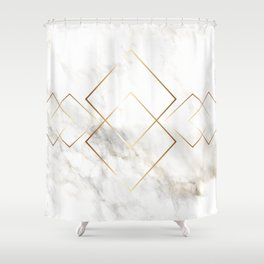 White Marble With Gold Pattern Shower Curtain