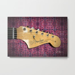 Jazzmaster on Red Metal Print