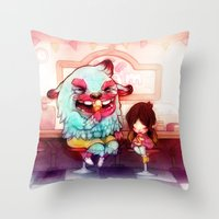 tooth Throw Pillows featuring Sweet Tooth by FlyOkay