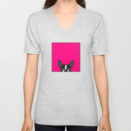 Boston Terrier Hot Pink Unisex V-Neck