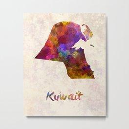 Kuwait  in watercolor Metal Print