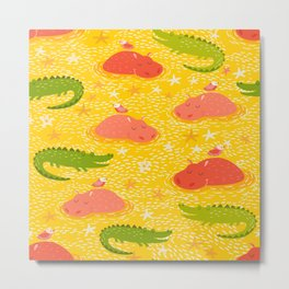 Cute african animals seamless pattern.Crocodile, hippo, hipo Metal Print