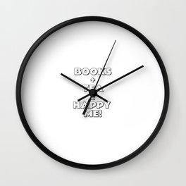 BOOKS + TEA = HAPPY ME Wall Clock
