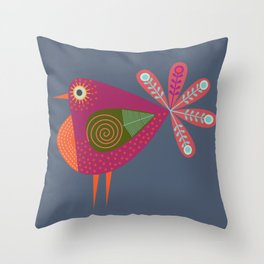 Red fantailed Folk Bird Throw Pillow