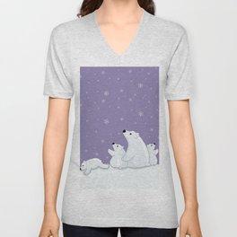 Polar Bear Family Unisex V-Neck