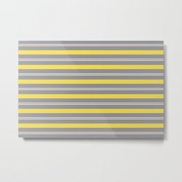 Stripes Thick and Thin Horizontal Line Pattern Metal Print
