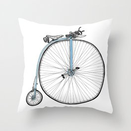 Blue Penny Farthing Throw Pillow