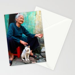 Old Woman with Cat - VIETNAM - Asia Stationery Cards