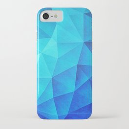Abstract Polygon Multi Color Cubizm Painting in ice blue iPhone Case
