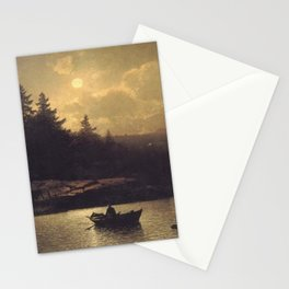 Fishing by Moonlight by Sophus Jacobsen Stationery Cards