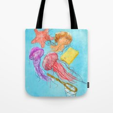 Realism on Jellyfish Fields Tote Bag
