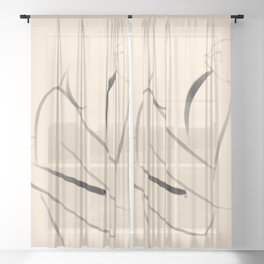 Love You and Me Line Art Sheer Curtain