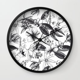 Black and White Vintage Tropical Flowers Pattern Wall Clock