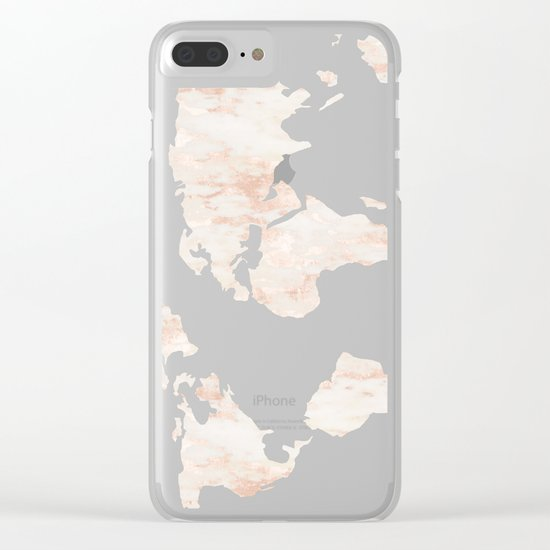 Pink Rose Gold World Map Clear iPhone Case
