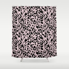 Terrazzo Spots Black on Blush Repeat Shower Curtain