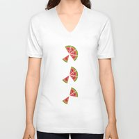 watermelon V-neck T-shirts featuring Watermelon  by brocoli art print