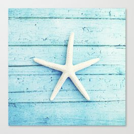 Starfish Beach Photography, Aqua Seashell Art, Coastal Nautical Photograph Canvas Print