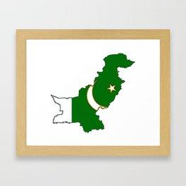 Pakistan Map with Pakistani Flag Framed Art Print