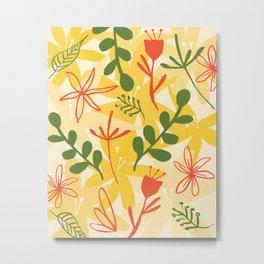 bold retro styled floral print Metal Print