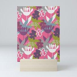 Fun-loving flowers in purple and pink Mini Art Print