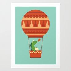 Dragon On Hot Air Balloon Art Print