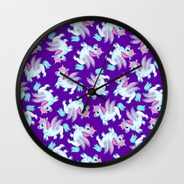 Flying Unicorns in Purple Wall Clock