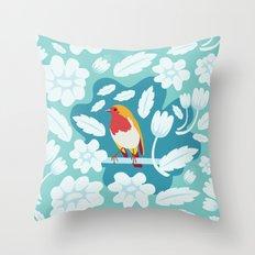 Coloured Robin Throw Pillow