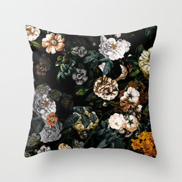 Floral Night Garden Throw Pillow