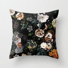 Floral Night Garden Throw Pillow