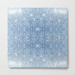 Blue Faux Glitter Shine Effect Texture Sparkle Metal Print