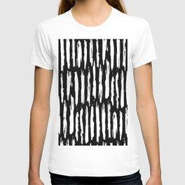 Vertical Dash White on Black Paint Stripes T-shirt