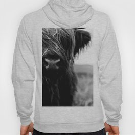 Scottish Highland Cattle Baby - Black and White Animal Photography Hoody