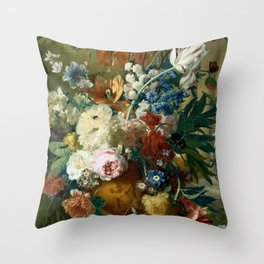 "Jan van-Huysum ""Flowers in a Vase with Crown Imperial and Apple Blossom"" Throw Pillow"
