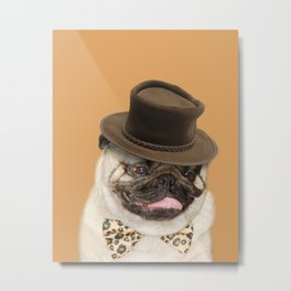 Dog pug with hat Metal Print