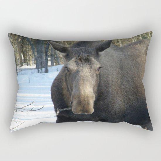 Moose Munching Poplar Lunch Rectangular Pillow