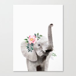 Baby Elephant with Flower Crown Canvas Print