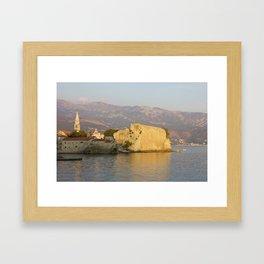 Sunset Over Old Town Budva In Montenegro Framed Art Print