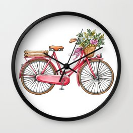 Cute watercolor vintage bike print. Wall Clock