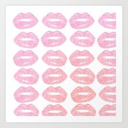 bitten lips gradient pattern doodle Art Print