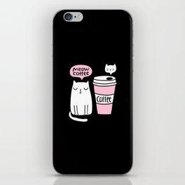 Meow coffee cat iPhone Skin