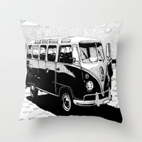 volkswagen Throw Pillows featuring Volkswagen Bus by Michael Blaze