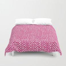 Hand Knit Hot Pink Duvet Cover