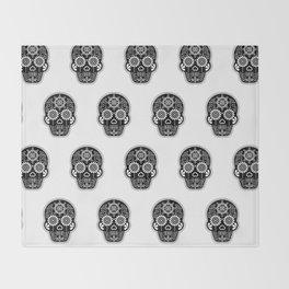 Día de Muertos Calavera • Mexican Sugar Skull – Black Palette Throw Blanket