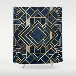 Art Deco Fancy Blue Shower Curtain