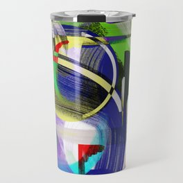 Try To Make Sense Of It All - Random, geometric, eclectic, abstract, colourful art Travel Mug