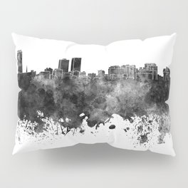 Baton Rouge skyline in black watercolor Pillow Sham