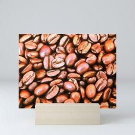 roasted coffee beans texture acrsat Mini Art Print