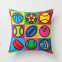 Sport Ball Pop Art Throw Pillow